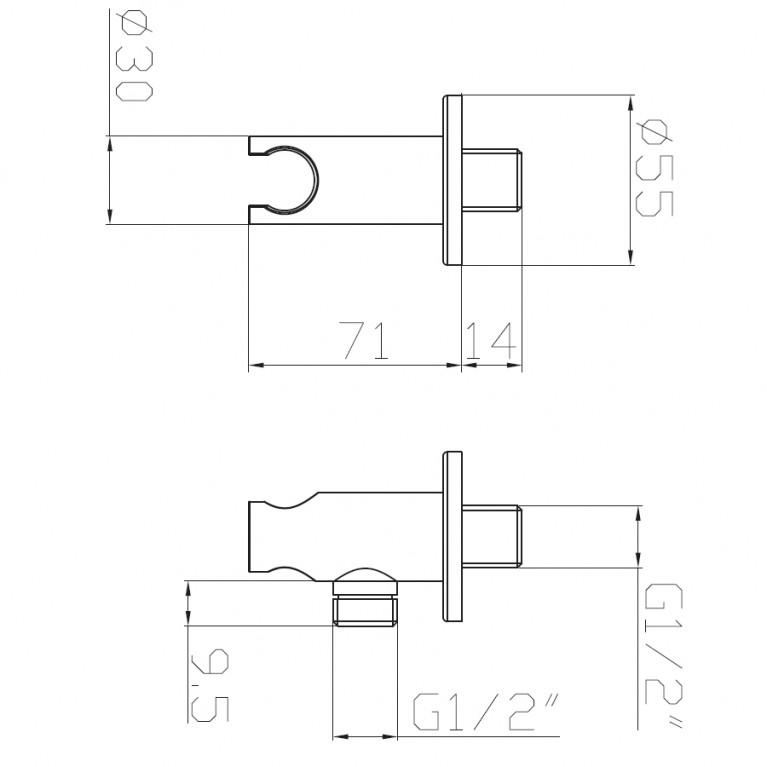 Подсоединение шланговое с настенным держателем, форма R HC03, фото 2