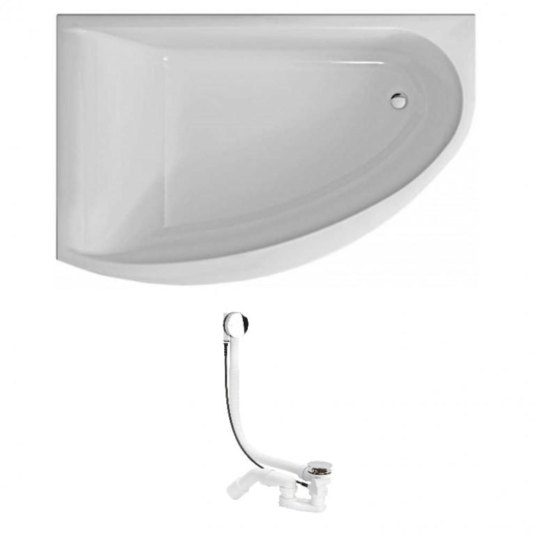 MIRRA ванна асимметричная 170*110 см, левая, с ножками SN8 и элементами крепления, белая + сифон Simplex  для ванны автомат 560мм, фото 1