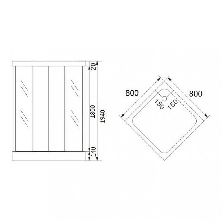 """AURORA  душ кабина квадратная, стекло (4мм) """"FABRIC"""" 800*800*1800 (без поддона) 8127, фото 2"""