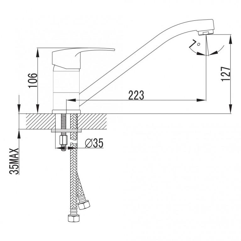 JESENIK  смеситель для кухни, хром, 35 мм 20140