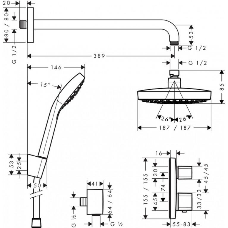 ShowerSet Croma Select E/Ecostat E Душевой набор (верхний, ручной душ, ibox, термостат) 27294000, фото 2