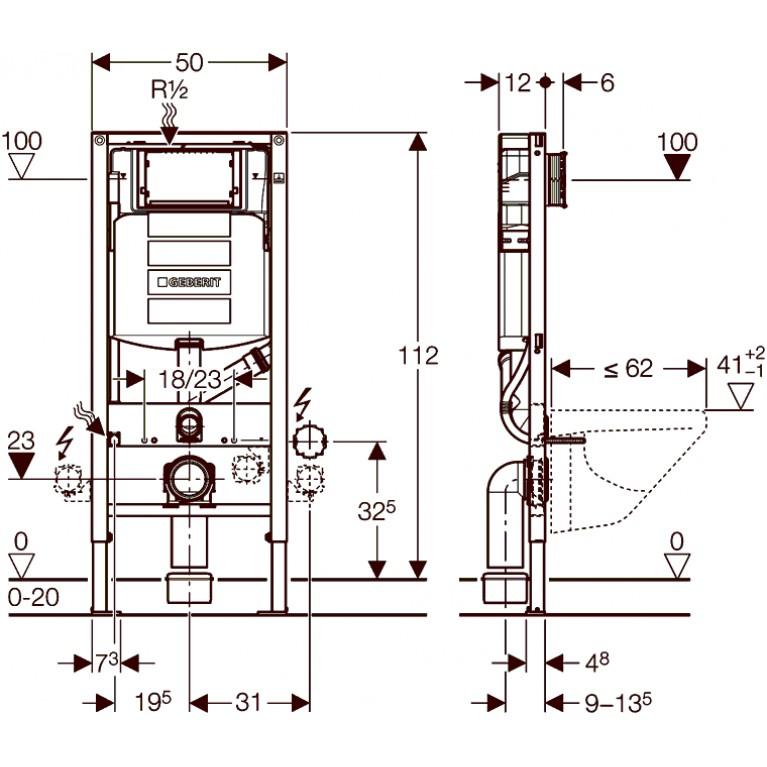 Duofix Монтажный элемент для подв. унитаза,с соединением для удаления запахов, для смывных клавиш Sigma 111.370.00.5, фото 2