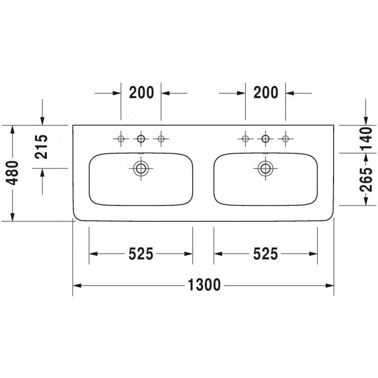 DURASTYLE умывальник 130*48см, двойной, для мебели, с 1м отв. под смеситель, с переливом 2338130000, фото 2
