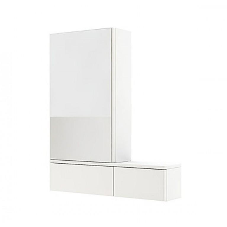 NOVA PRO шкафчик с зеркалом 80см, левый, белый глянец