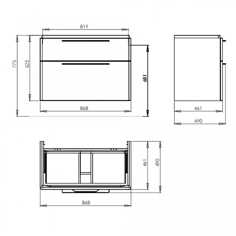 TRAFFIC шкафчик под умывальник 86,8*62,5*46,1см,платиновый глянец (пол.) 89438000, фото 2