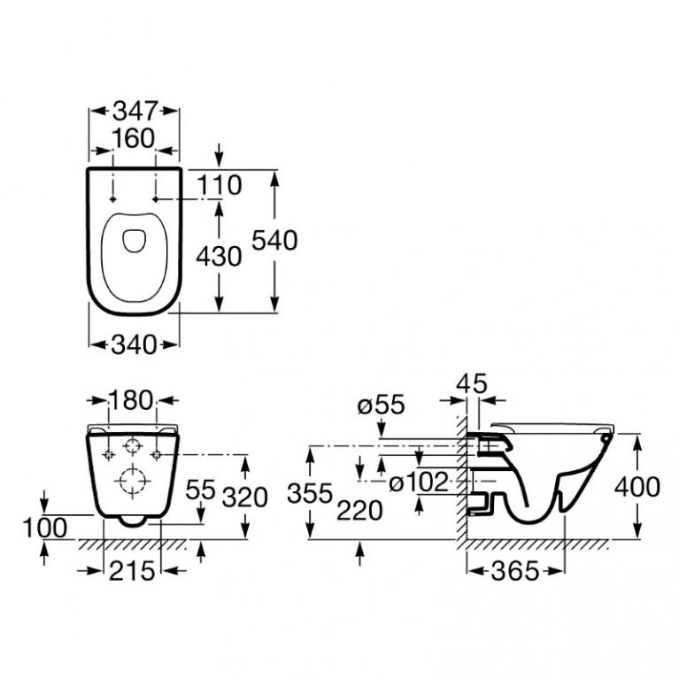 Комплект: GAP Rimless унитаз подвесной с сиденьем Slim, slow-closing A34H470000+141515
