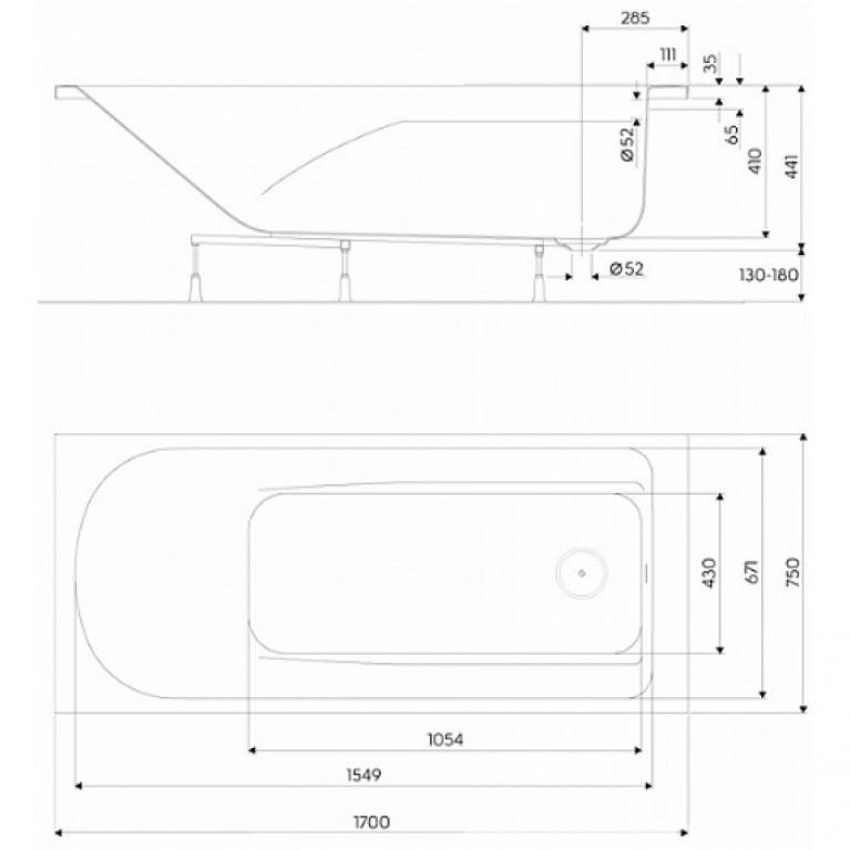 COMFORT PLUS ванна 170*75см, прямоугольная, с ножками, без ручек XWP1470000, фото 2
