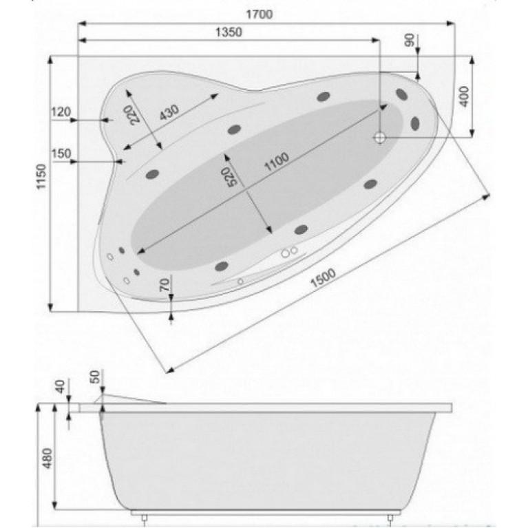 EUROPA ванна 170*115см, левая, с системой гидромассажа SMART 2 PHAD210ST2C0000, фото 3