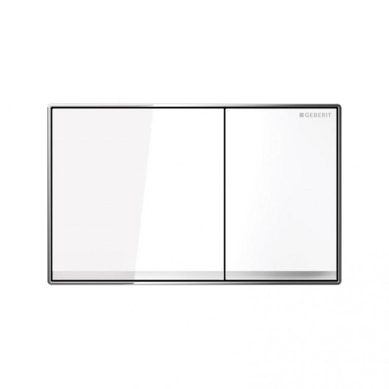 Смывная клавиша GEBERIT Sigma 60, двойной смыв, стекло белое