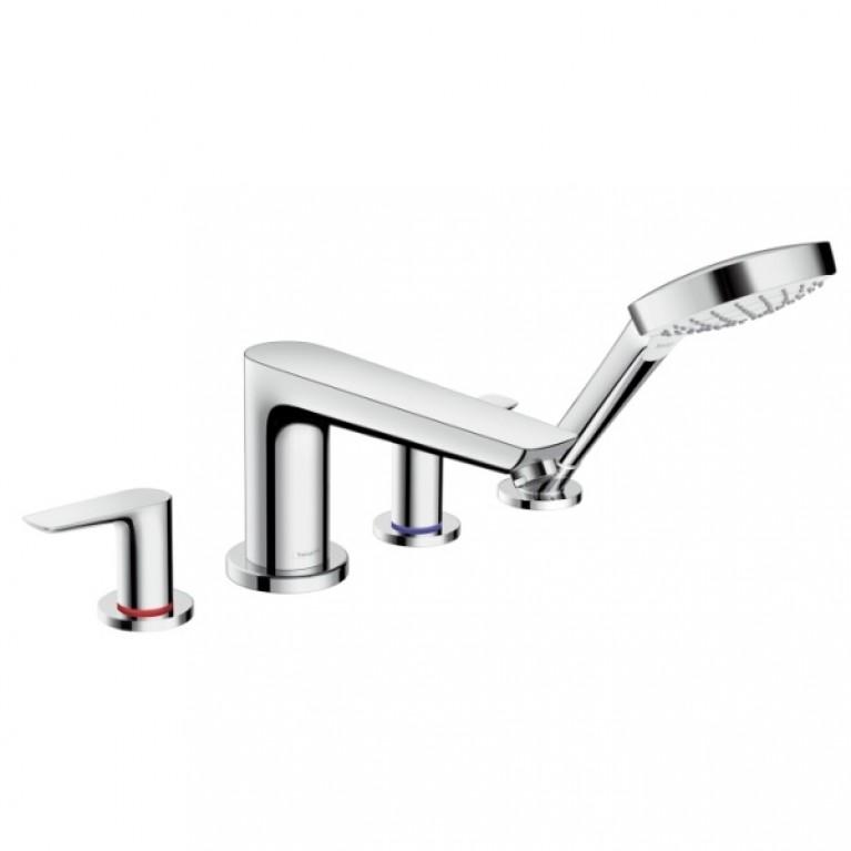 Talis E Смеситель для ванны на 4 отверстия, двухвентильный, с лейкой для душа, фото 1