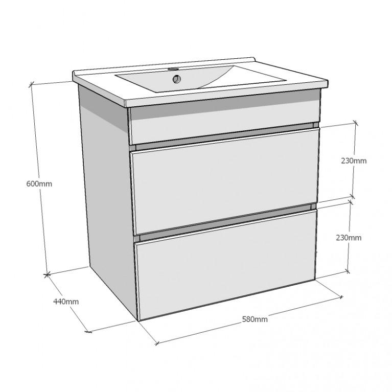 FIESTA комплект мебели 600: тумба подвесная белая (2 ящика)+умывальник накладной 15-600-01, фото 3