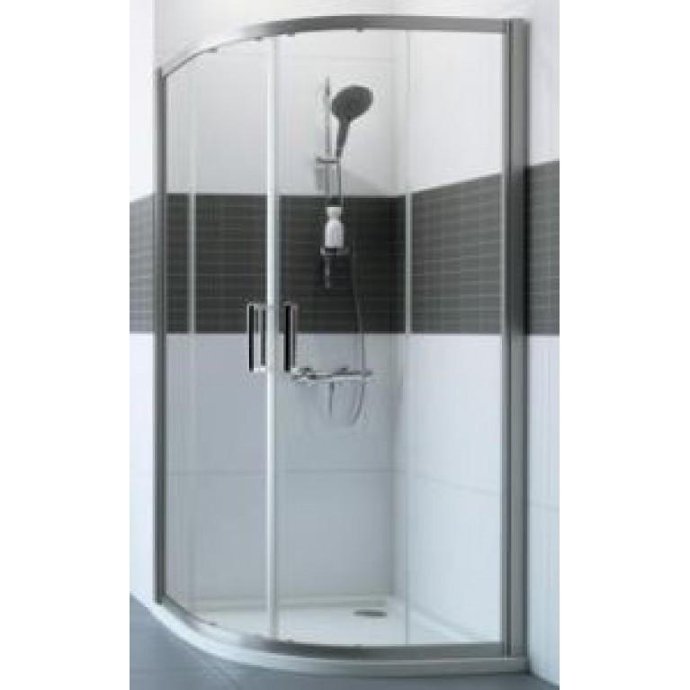 Купить CLASSICS 2 дверь 106*200см, 2х-секционная, раздвижная, для углового входа, серебро с ярким блеском, стекло прозрачное у официального дилера HUPPE в Украине