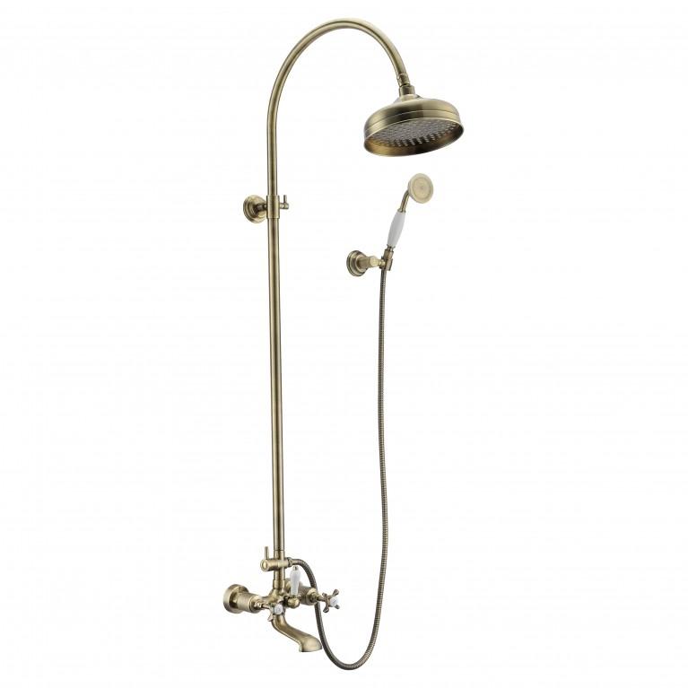 CUTHNA antiqua система душевая (двухвентильный смеситель для ванны, верхний и ручной душ), бронза, фото 1