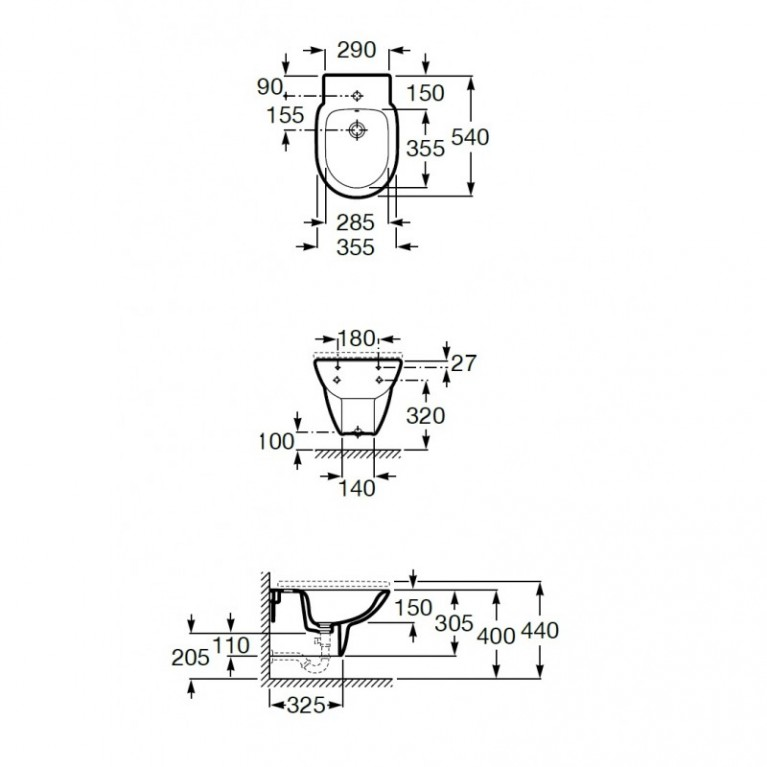 DEBBA Round чаша подвесного биде 54*40см A357999000, фото 2
