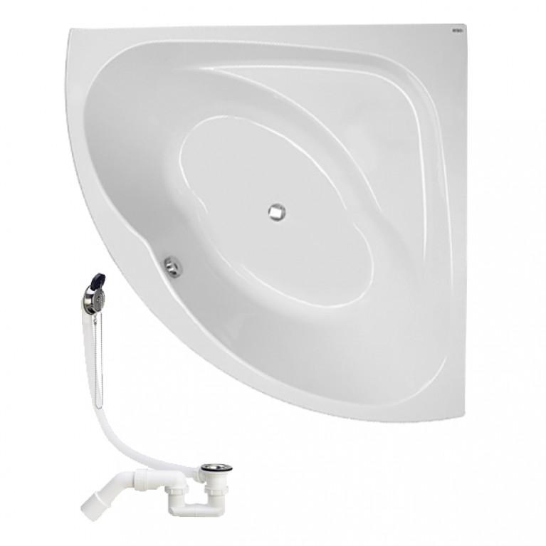 INSPIRATION ванна угловая 140*140 см, с ножками SN8 + сифон Viega Simplex  для ванны, фото 1