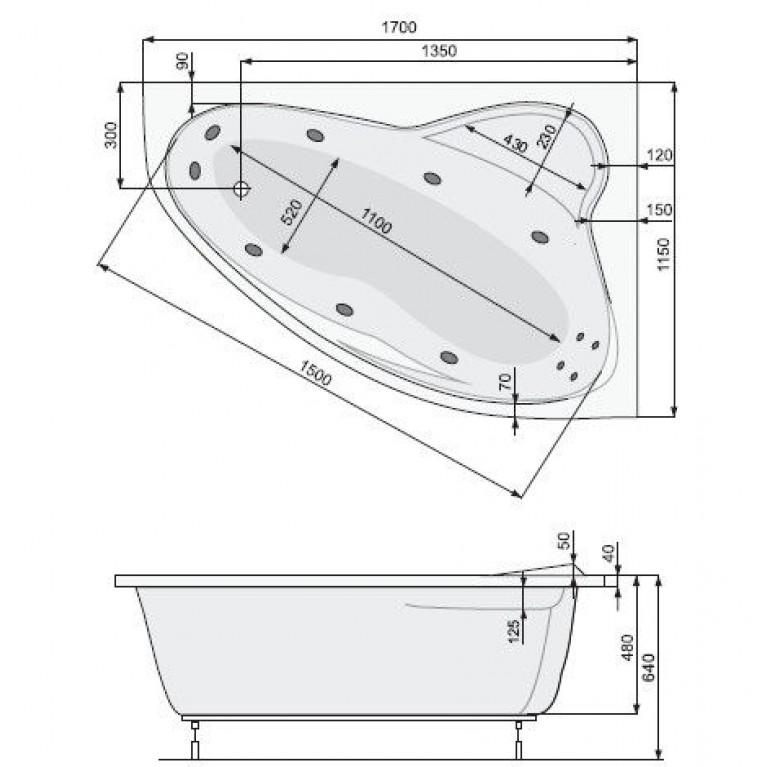 EUROPA ванна 170*115см, с системой гидромассажа SMART 2, правая PHAD110ST2C0000, фото 3