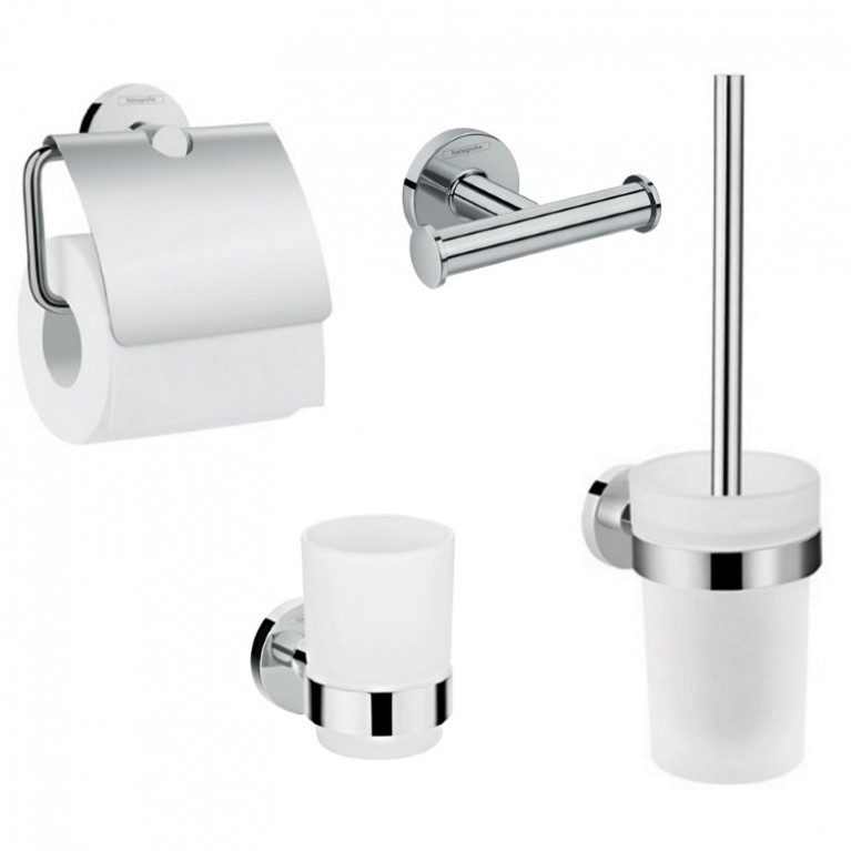 Logis Набор аксессуаров: крючок двойной, держатель туалетной бумаги, стакан, туалетная щётка, фото 1