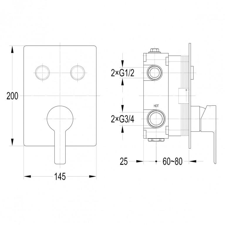 SMART CLICK смеситель для душа(скрытый монтаж), 2 режима, хром ZMK101901201, фото 2