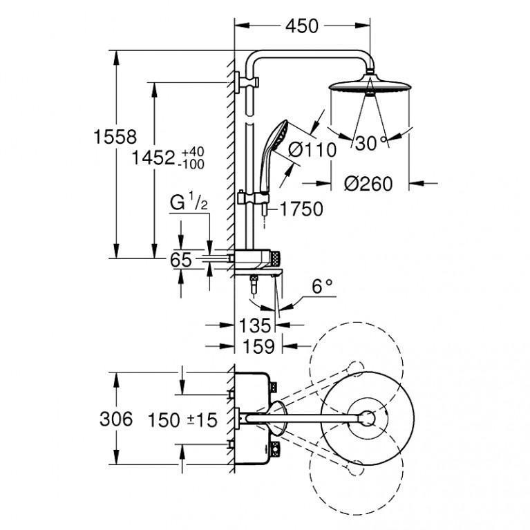 Euphoria SmartControl System 260 Mono Душевая система настенного монтажа с термостатом для ванны 26510000, фото 2
