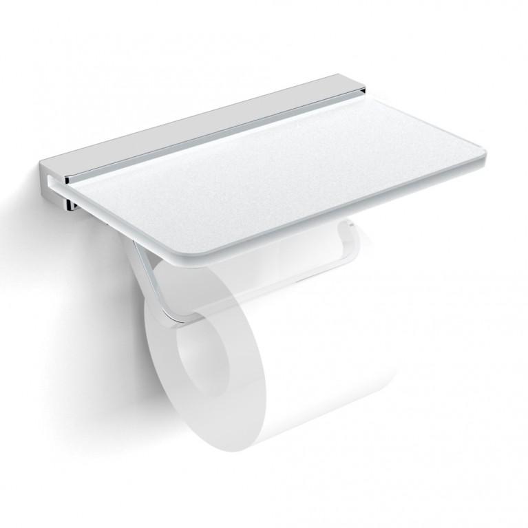 TEO держатель бумаги с полочкой матовое стекло, крепление к стене, хром