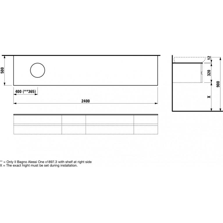 ALESSI ONE столешница 240*50*33см, для шкафчика, с вырезом для раковины слева, белый глянец H4246020976311, фото 2