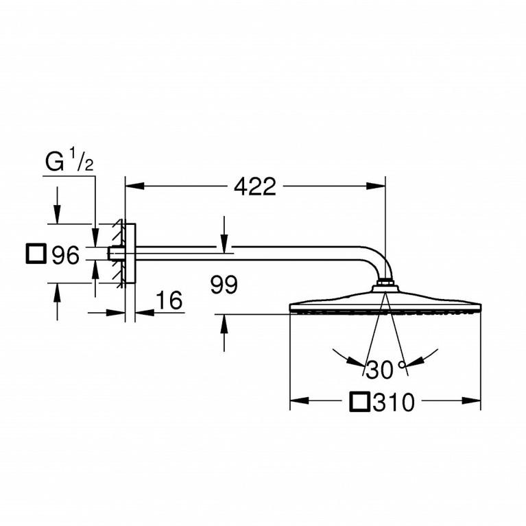 Rainshower 310 Mono Cube Набор 422 мм верхнего душа, 1 режим струи 26563000, фото 2