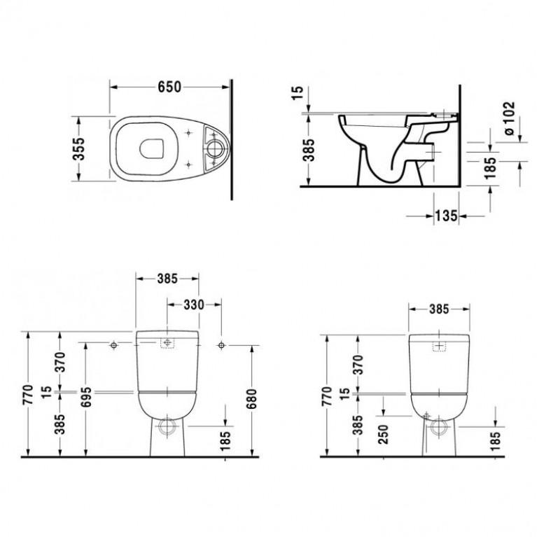 D-CODE унитаз 65*35,5*38,5см, напольный, горизонтальный выпуск 21110900002, фото 2