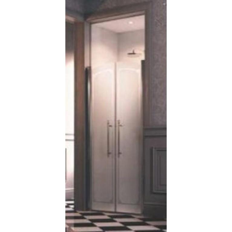 DESIGN VICTORIAN  дверь двустворчатая 100*196см (проф гл хром, стекло Frozen Grace Antiplaque), фото 1