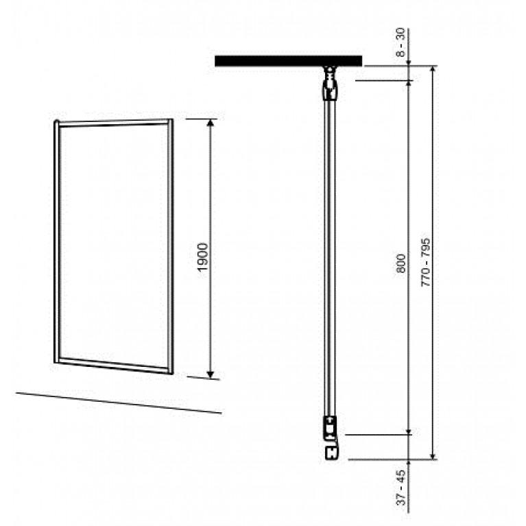 GEO 6 боковая стенка 80 см, для комплектации с раздвижными дверями Pilot и Bifold серебряный блеск GSKS80222003, фото 2