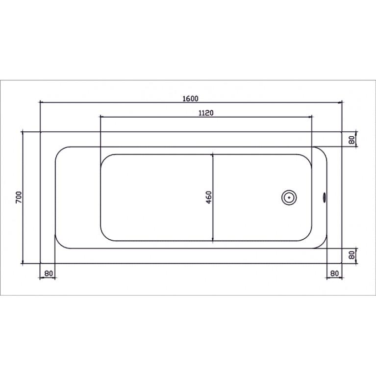 MODO прямоугольная ванна 170*75см, центральный слив, с ножками SN7 XWP1171000, фото 2