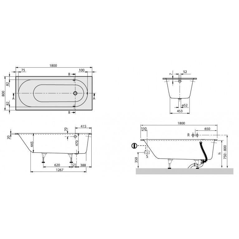 OBERON ванна 180*80см в комплекте с ножками UBQ180OBE2V-01, фото 2