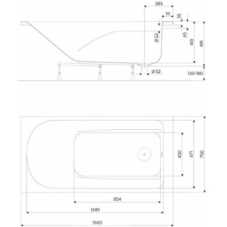 Ванна прямоугольная KOLO COMFORT 170x75 см пристенный монтаж XWP3070000, фото 2