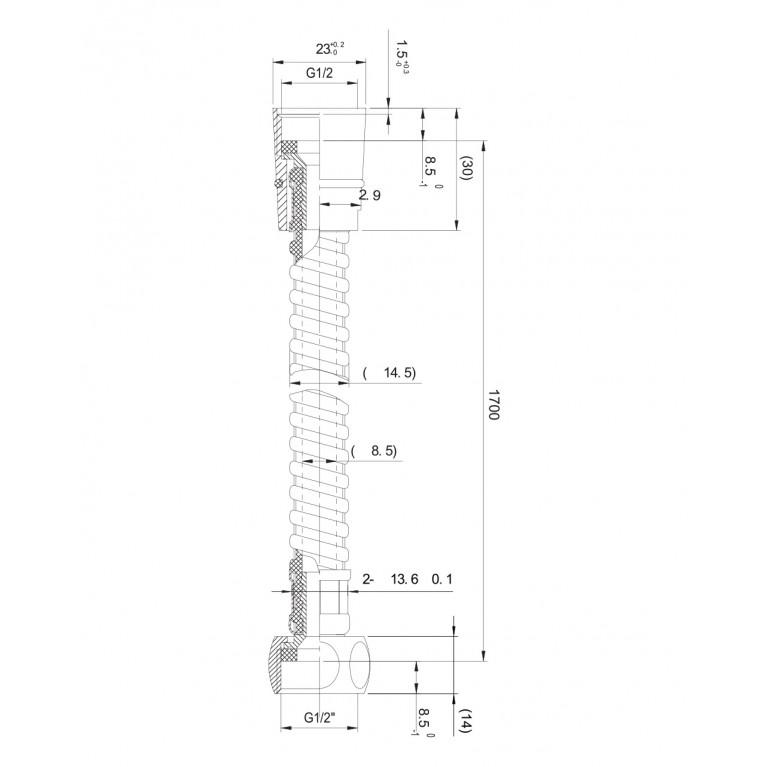 Шланг для душа  полимерная оплетка с металлическим эффектом 1,7 м, блистер 1717