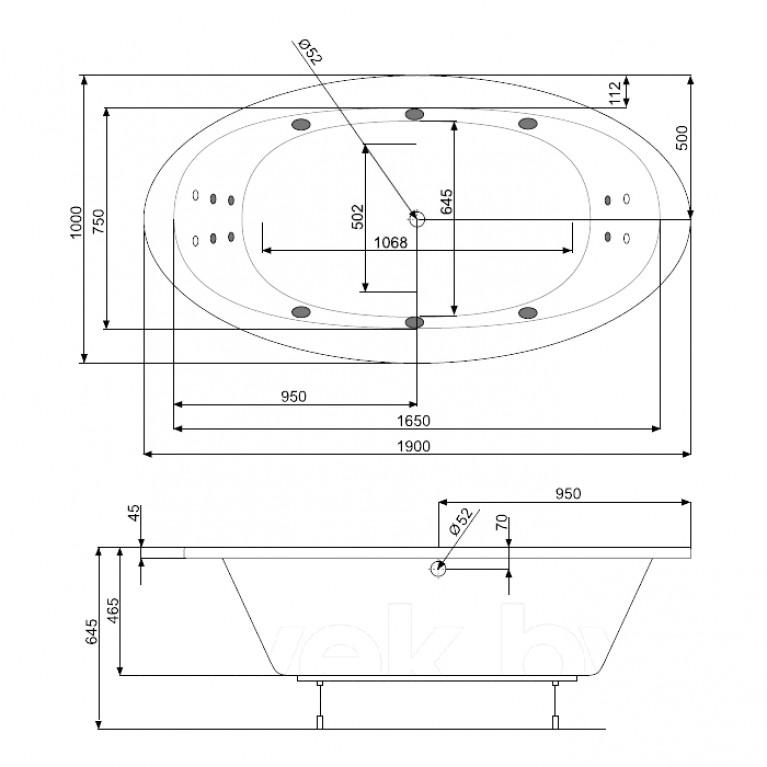 AURA ванна 190*100см, с системой аэро и гидромассажа Titanium PHR7810STTC0000, фото 2