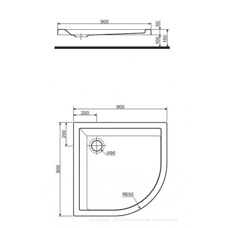 PACYFIK поддон полукруглый  90*90 см XBN0790000, фото 2