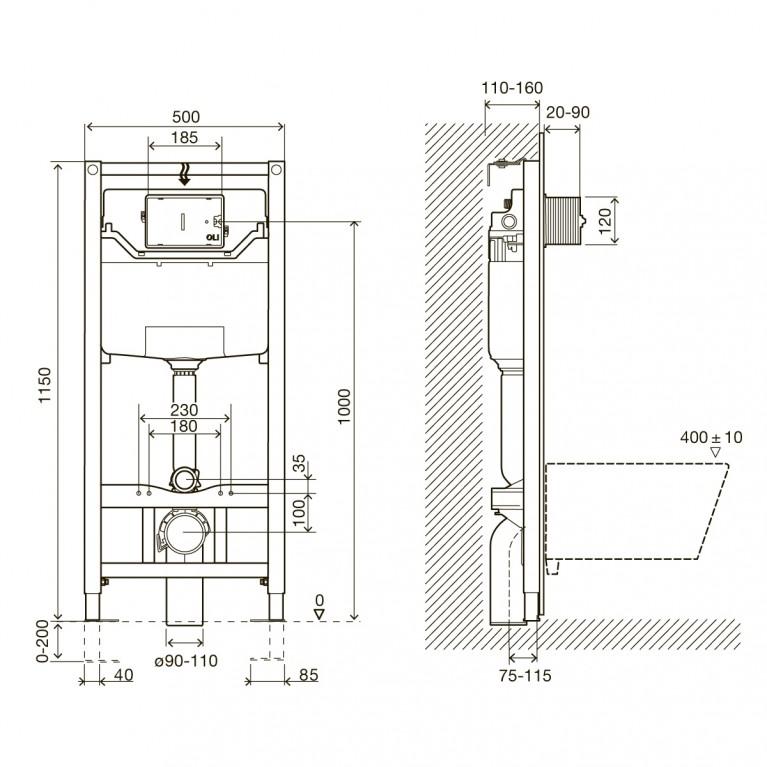 Комплект: ARCHITECTURA унитаз подвесной 37*53см, DirectFlush, с сидением Slow closing +IMPRESE Комплект инсталляции 3в1 5684HR01+i8120, фото 2