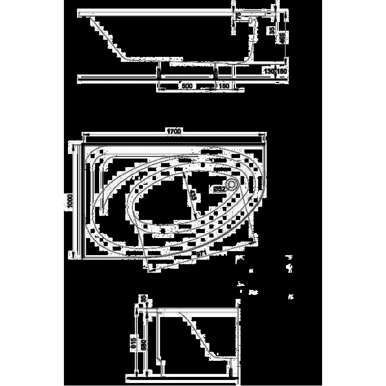 PROMISE ванна асимметричная 170*110 см, правая, c ножками SN8 XWA3270000, фото 2
