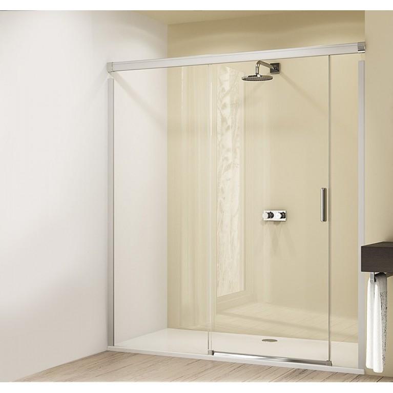 DESIGN ELEGANCE дверь раздвижная 180*200см с неподвижным сегментом и доп элементом (проф гл хром,стекло прозр), фото 1