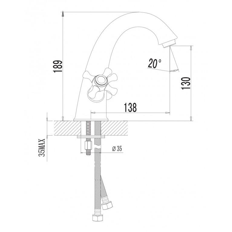 RALSKO NEW двухвентильнный смеситель для раковины, хром 05240NEW, фото 2