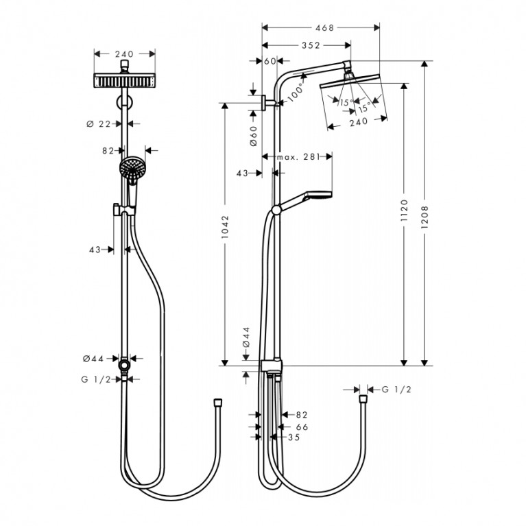 Crometta E 240 1jet Showerpipe Reno Душевая система EcoSmart 9 л / мин, хром 27289000