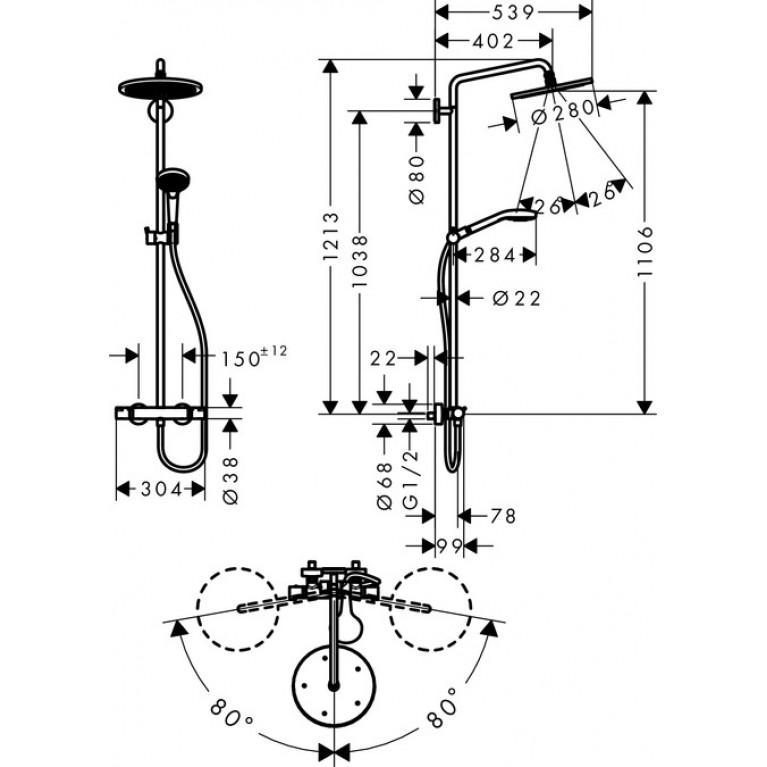 Croma Select S Душевая система Showerpipe 280 1jet, 9 л/мин с термостатом, версия EcoSmart, хром 26794000, фото 3