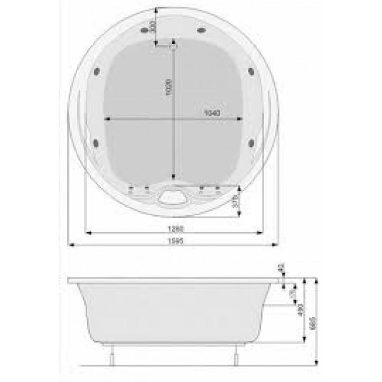 ATLANTYDA ванна 160*160см, с системой гидромассажа SMART 2 + Option PHRD310ST2C1960, фото 2