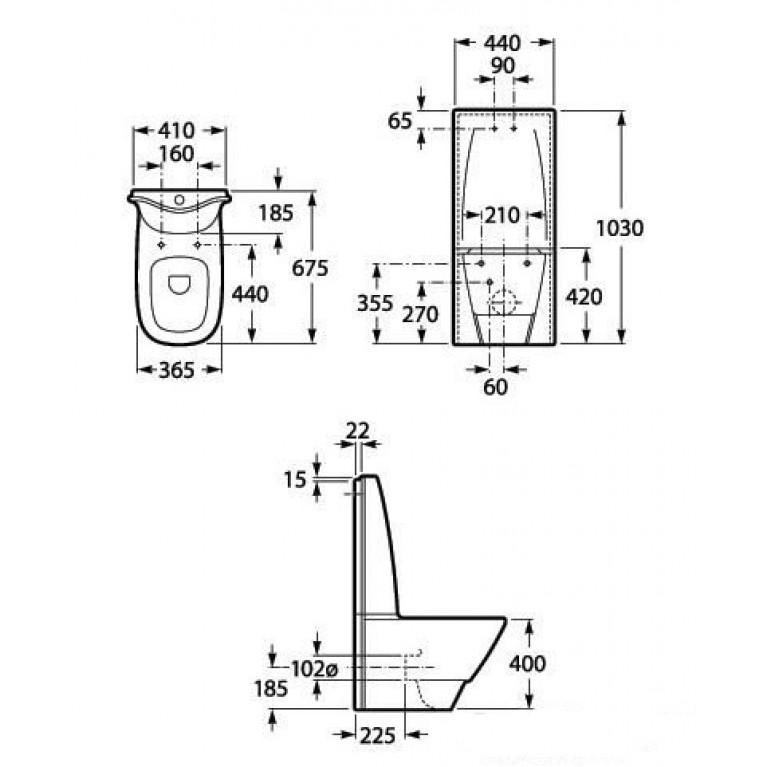 FRONTALIS чаша напольного унитаза A342587000