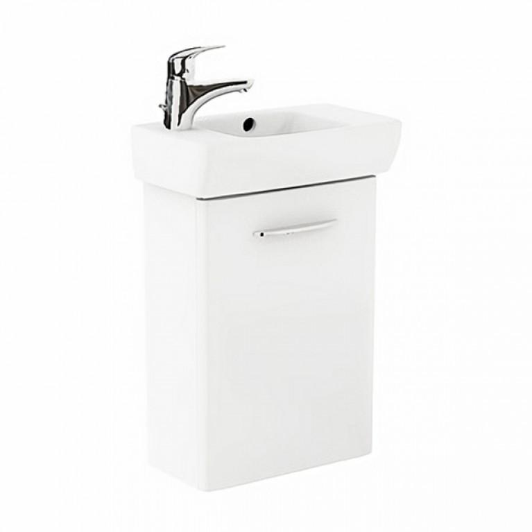 NOVA PRO комплект: умывальник 45см прямоугольный, левое отверстие + шкафчик для умывальника белый глянец (пол)