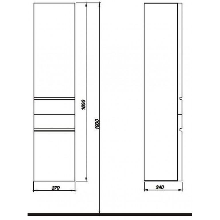 DOMINO корпус к шкафчику боковому,высокому,правому или левому с корзиной для белья 37*160*34 см белый глянец (пол.), фото 2