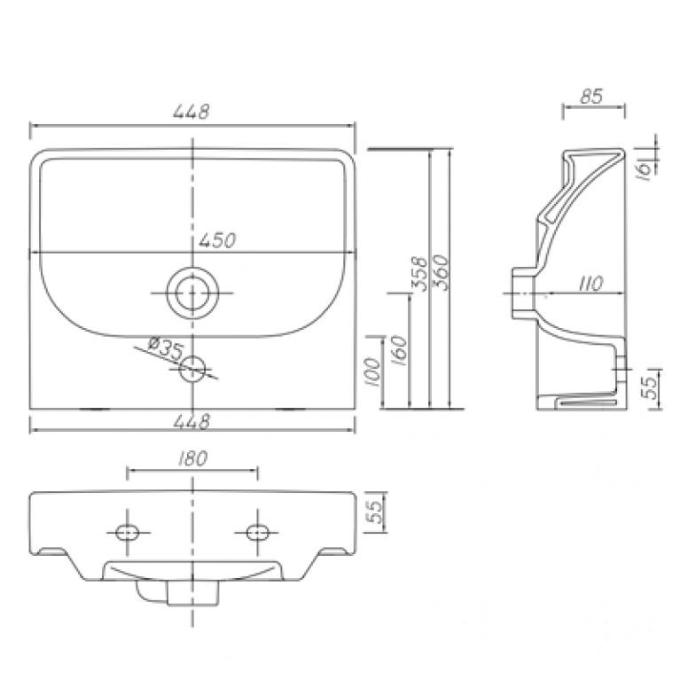 TRAFFIC умывальник мебельный 45*36 см,с отверстием.с переливом (пол.) L92145000, фото 2