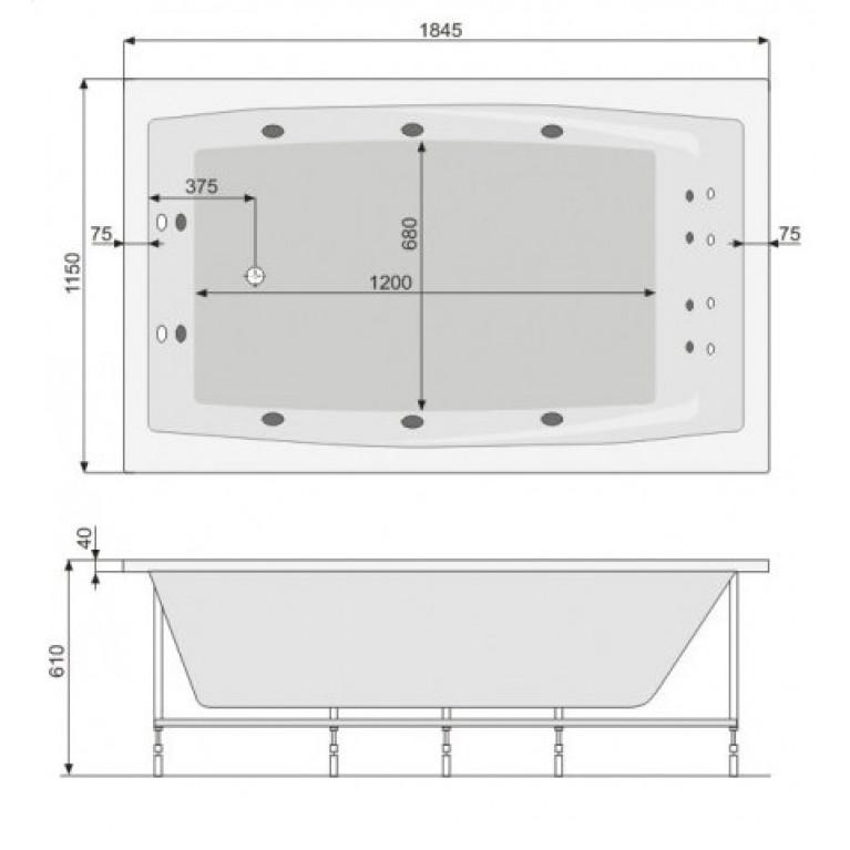FANTASY ванна 185*115см, с гидромассажем, с системой Economy 1 PHP1H10SO1C0000, фото 2