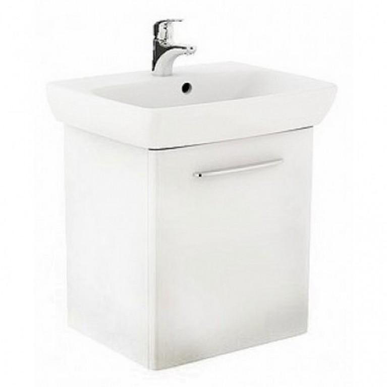 NOVA PRO комплект: умывальник 50см прямоугольный + шкафчик для умывальника белый глянец (пол)