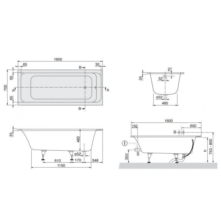 ARCHITECTURA ванна 160*70см, прямоугольная, цвет белый альпин UBA167ARA2V-01, фото 3