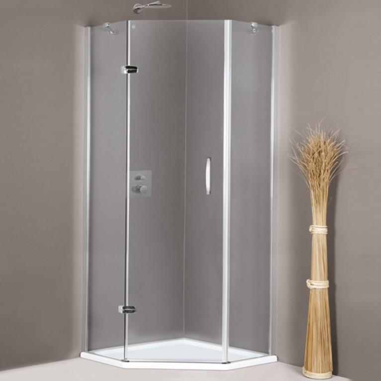 AURA ELEGANCE дверь распашная  с неподвижным сегментом 100*190см (проф гл хром, стекло прозр Antiplaque), фото 1